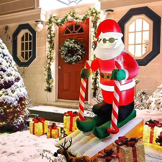 CCLIFE Muñeco hinflable de Papá Noel inchable LED, exterior, iluminación navideña navidad decoracion, Color:Santa Claus skiing