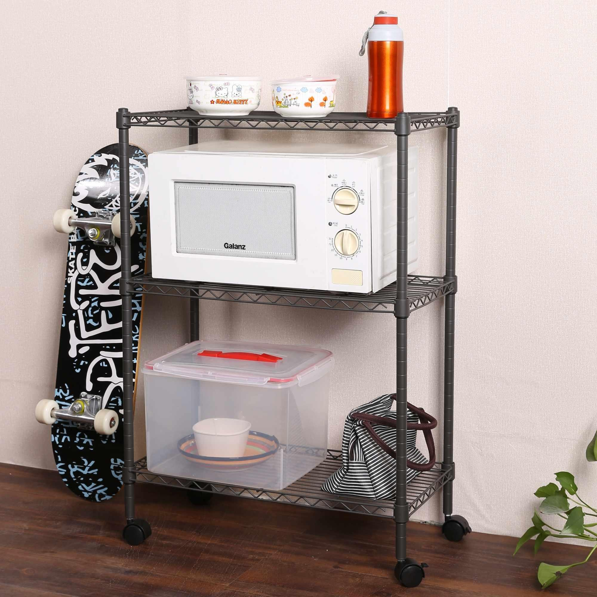 3-Tier Adjustable Steel Wire Rack Shelving Shelf Cart Portable Rolling Cart Rack with Locking Wheels, Perfect for Bathroom and Kitchens (Grey)