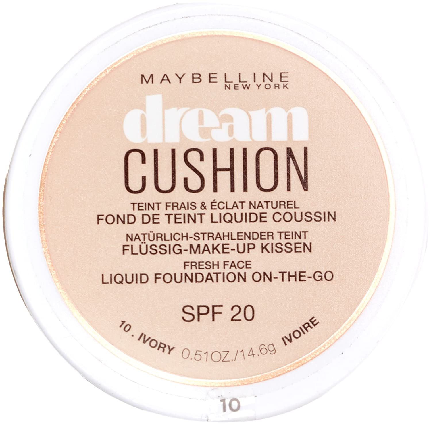 c070c908940 Maybelline Dream Cushion Liquid Foundation 10 Ivory 30ml  Amazon.co.uk   Beauty