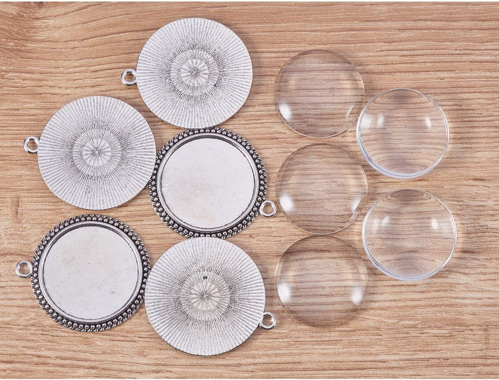 Antique Silver,40x36x2.5mm,6sets PandaHal Pendant Sets,Flat Round Glass Cabochons with Alloy Pendant Trays