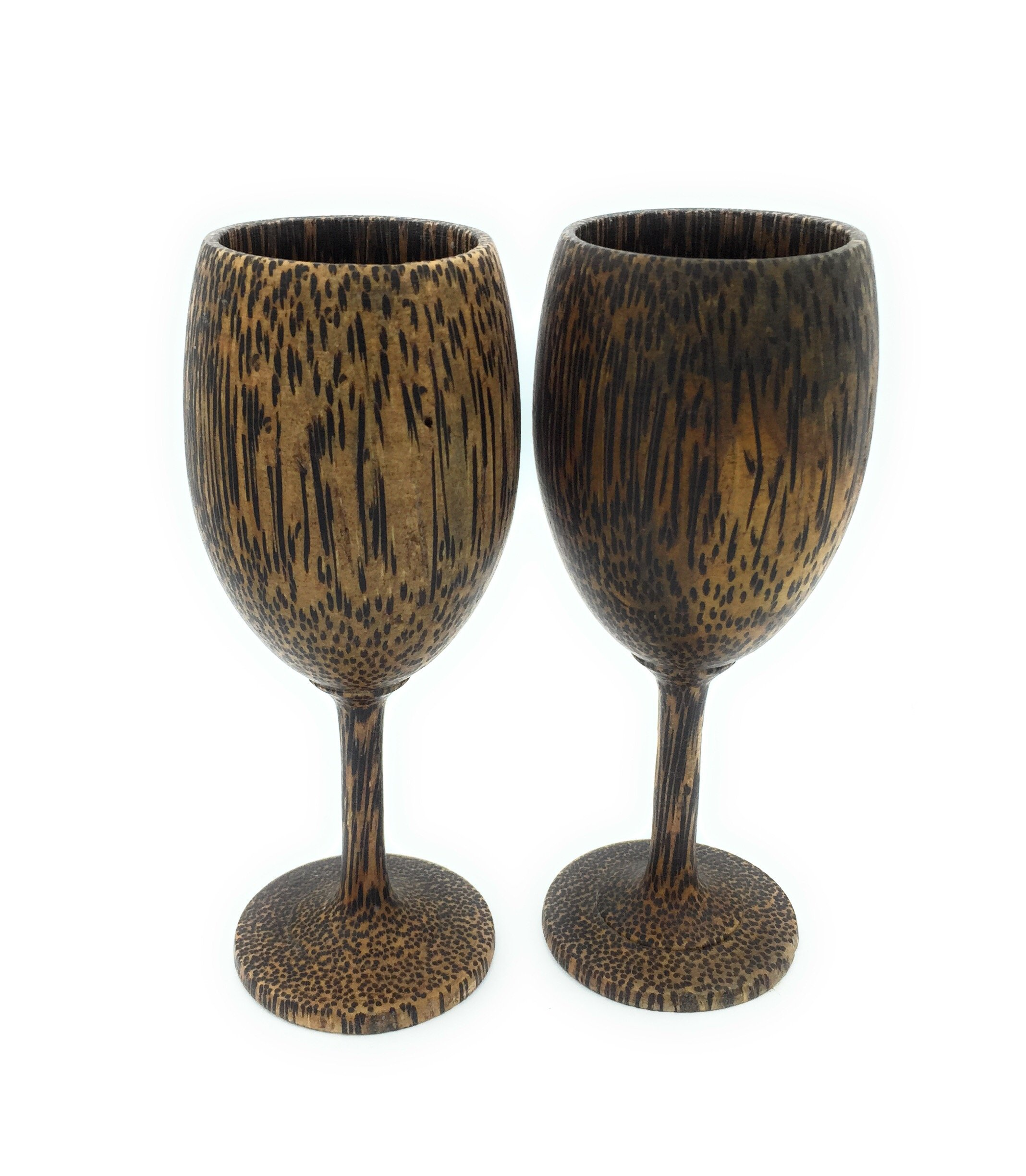 WD-Thailand Lot of 2 set Vintage style Handmade Palm wood Wine Glass Glasses Palm wooden Natural color- Great gift.