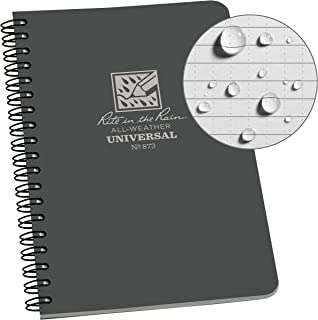 "product image for Rite in the Rain All-Weather Side-Spiral Notebook, 4 5/8"" x 7"", Gray Cover, Universal Pattern (No. 873)"