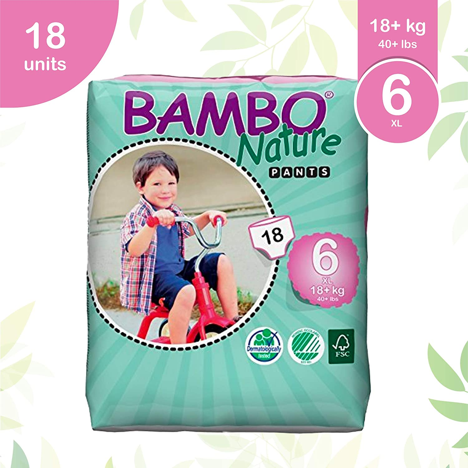 Bambo Nature Eco Friendly Premium Training Pants für Sensitive Skin, Size 6 (40+ Lbs), 90 Count(5 Packs von 18)