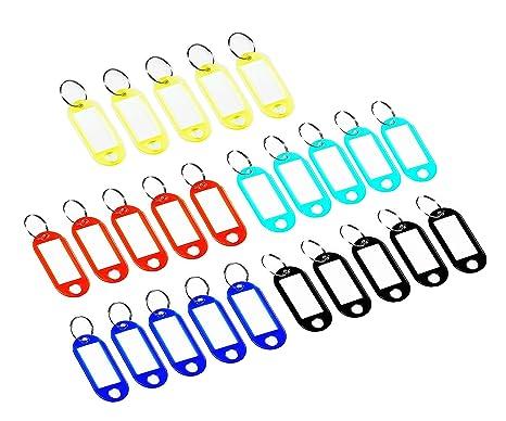 Febbya Llaveros con Etiqueta,50 Unidades Llavero con Anillo de Plástico ID Llaveros para Hotel Escuela de Oficina EquipajeHogar 5 Colores Aleatorios
