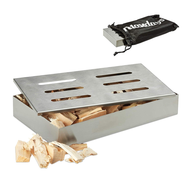 Relaxdays Smoker Affumicatore in acciaio inox, professionale, inossidabile, con borsa per il trasporto, Bastoncini di aroma Godetevi, BBQ, 21 x 13 x 3,5 cm, colore: Argento 21x 13x 3 5cm 10023290