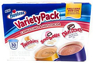 product image for Hostess Variety Pack Cappuccino and Hot Cocoa 30 Single Serve Brew Cups Twinkies Snoballs Ding Dongs