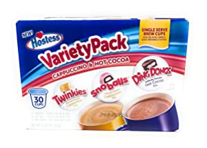 Hostess Variety Pack Cappuccino and Hot Cocoa 30 Single Serve Brew Cups Twinkies Snoballs Ding Dongs
