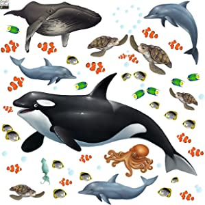 Create-A-Mural : Ocean Wall Decals Undersea Wall Stickers (29) Under Water Sea Life Kids Room Decor Vinyl Art Bedrooms Baby Nursery, Toddler, Teen, Playroom Classroom Birthday DIY