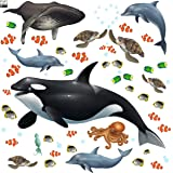 Create-A-Mural : Ocean Wall Decals Undersea Wall Stickers (29) Under Water Sea Life Kids Room Decor Vinyl Art Bedrooms Baby N