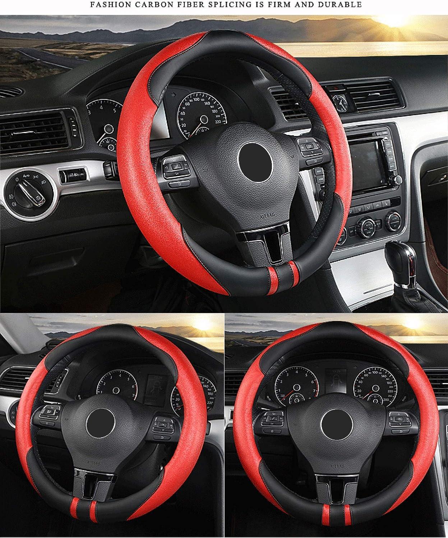 15 Anti-slip Breathable Durable SFONIA Car Steering Wheel Cover Steering Wheel Protector Microfiber Leather Universal 38cm Red