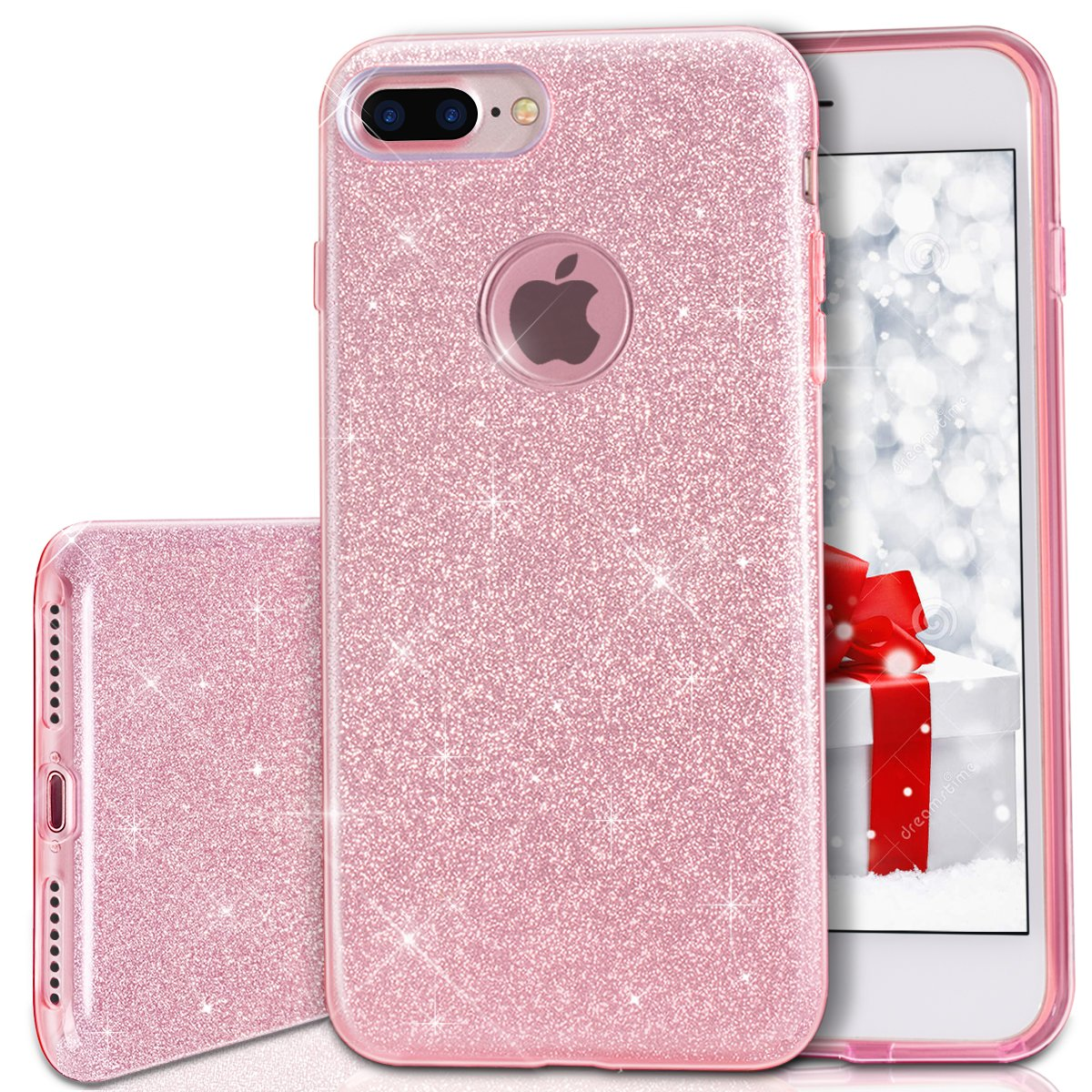 iPhone 7 plus Case, MILPROX Bling Luxury Glitter Pretty Cute Premium 3 Layer Hybrid Anti-Slick / Protective / Soft Slim Thin TPU unique Case for girls / women iPhone 7 plus - Pink [rose gold]