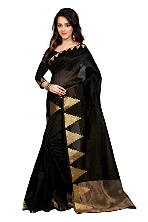 9faf335a5a Megha Designer Women's Black Colour Art Silk Saree With Blouse  Piece(531-A-Raj Crekal Black ): Amazon.in: Clothing & Accessories