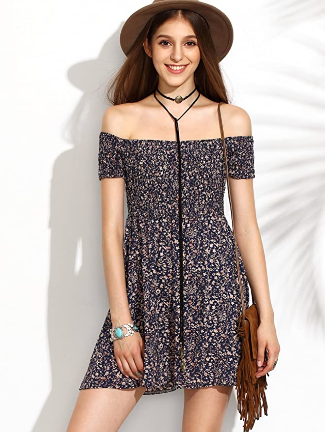 b796a24f9b62 SheIn Women s Vintage Off Shoulder Short Sleeve Floral Print Flare Mini  Dress Large Multicolor Navy at Amazon Women s Clothing store