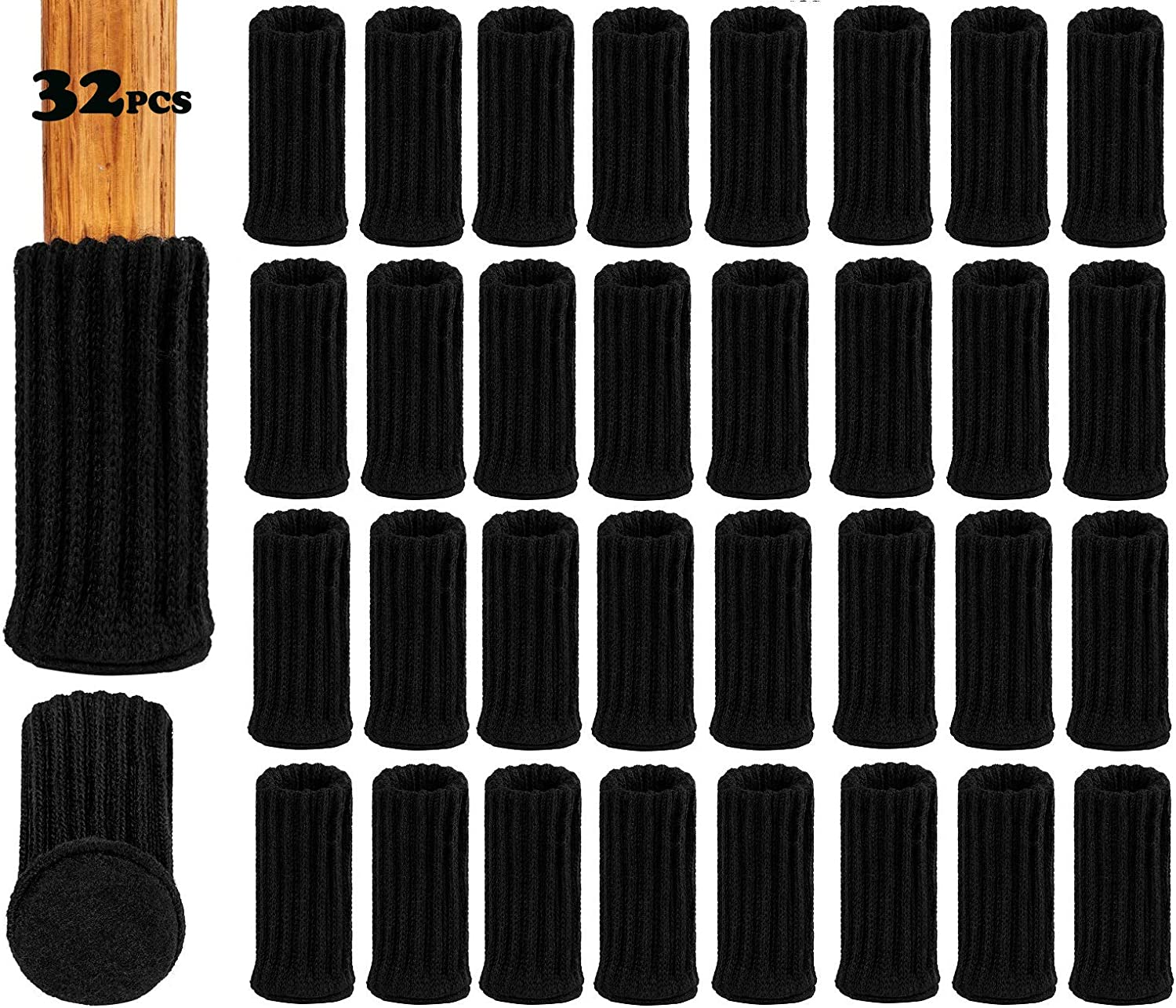 "32PCS 1""-2""Chair Socks/Chair Caps/Chair Leg Feet Socks/Furniture Boots/Elastic Wood Floor Chair Leg Cover/Furniture Legs Socks/Knitted Furniture Feet Socks/Chair Boots/Furniture Socks"