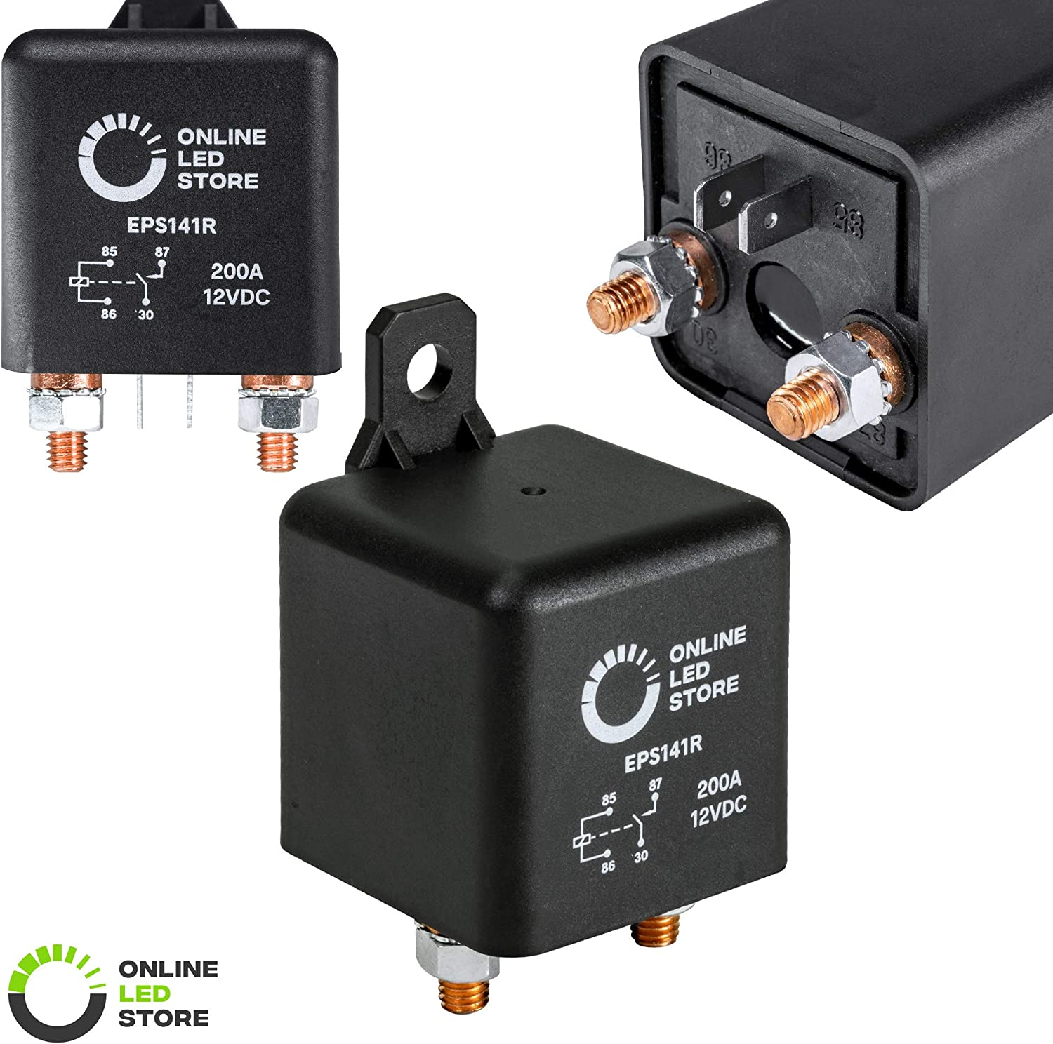 ONLINE LED STORE 12V DC 200 Amp Split Charge Relay Switch - 4 Terminal Relays for Truck Boat Marine