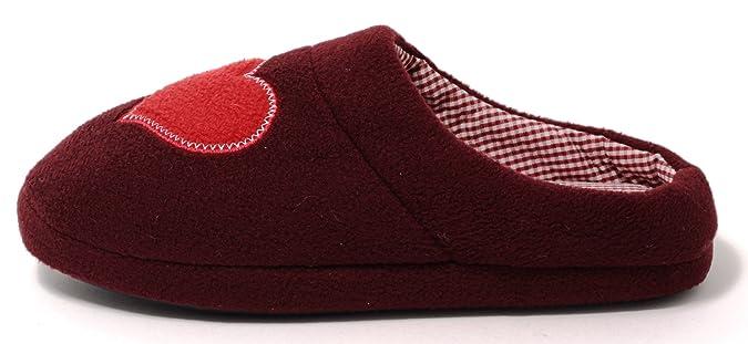 Damen Hausschuhe Slipper Pantoffeln HOME COMFORT Gr.37-41 (41) bordeaux rot mit Herz und Vichy Karo Futter 4uQYlYxDk