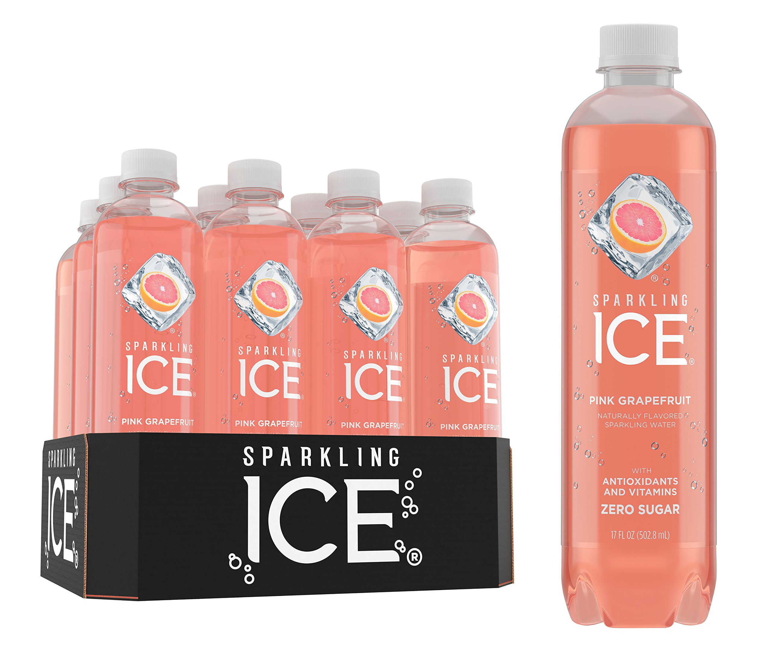 Sparkling Ice Pink Grapefruit Sparkling Water, with Antioxidants and Vitamins, Zero Sugar, 17 Ounce Bottles (Pack of 12)