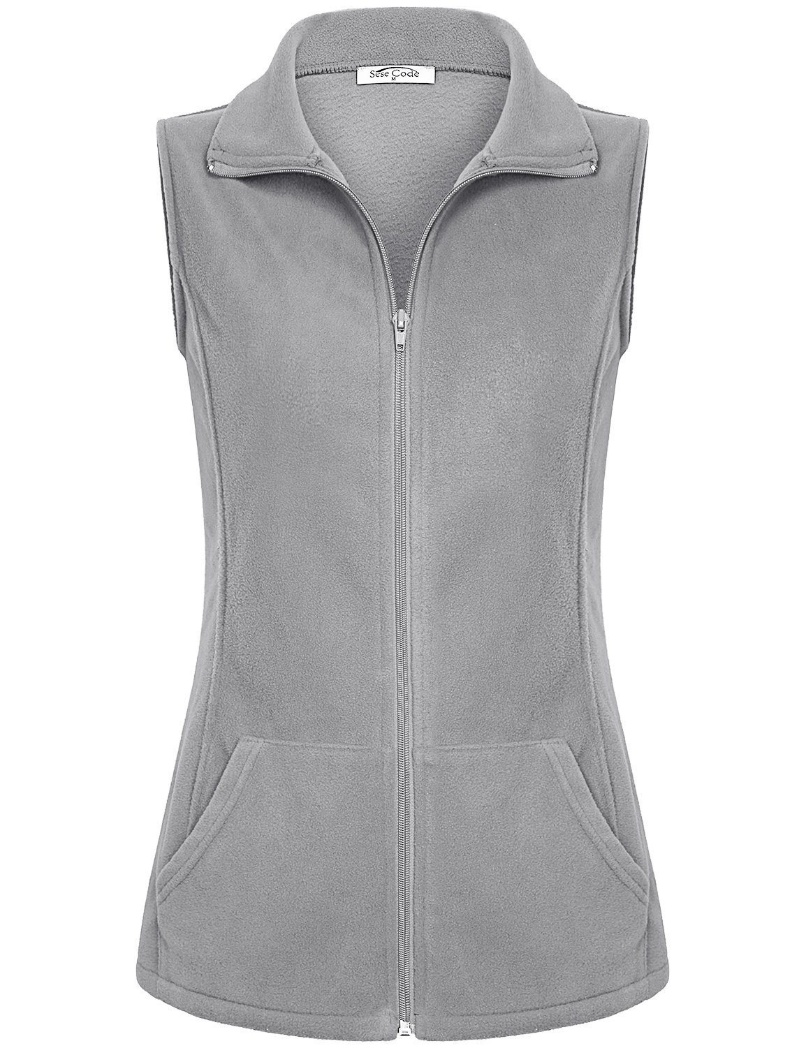 SeSe Code Warm Vest for Women Women Lightweight Fleece Zip up High Collar Fashion Outfits Pure Color Slant Pockets Elastic Comfy Contemporary Sleeveless Coat Top Grey-1 L