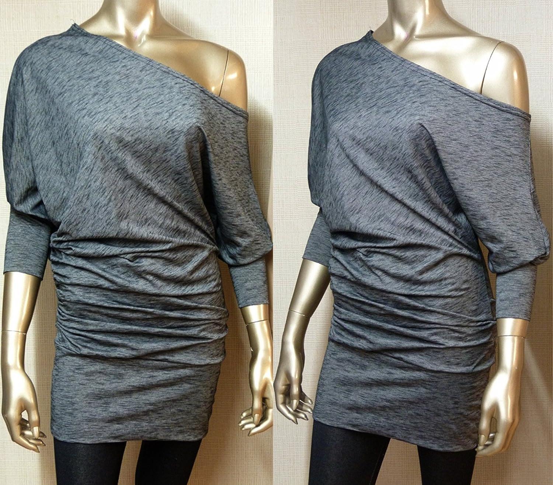 New Grey & Black One Shoulder Batwing Jumper Dress - UK Size 12 - 20