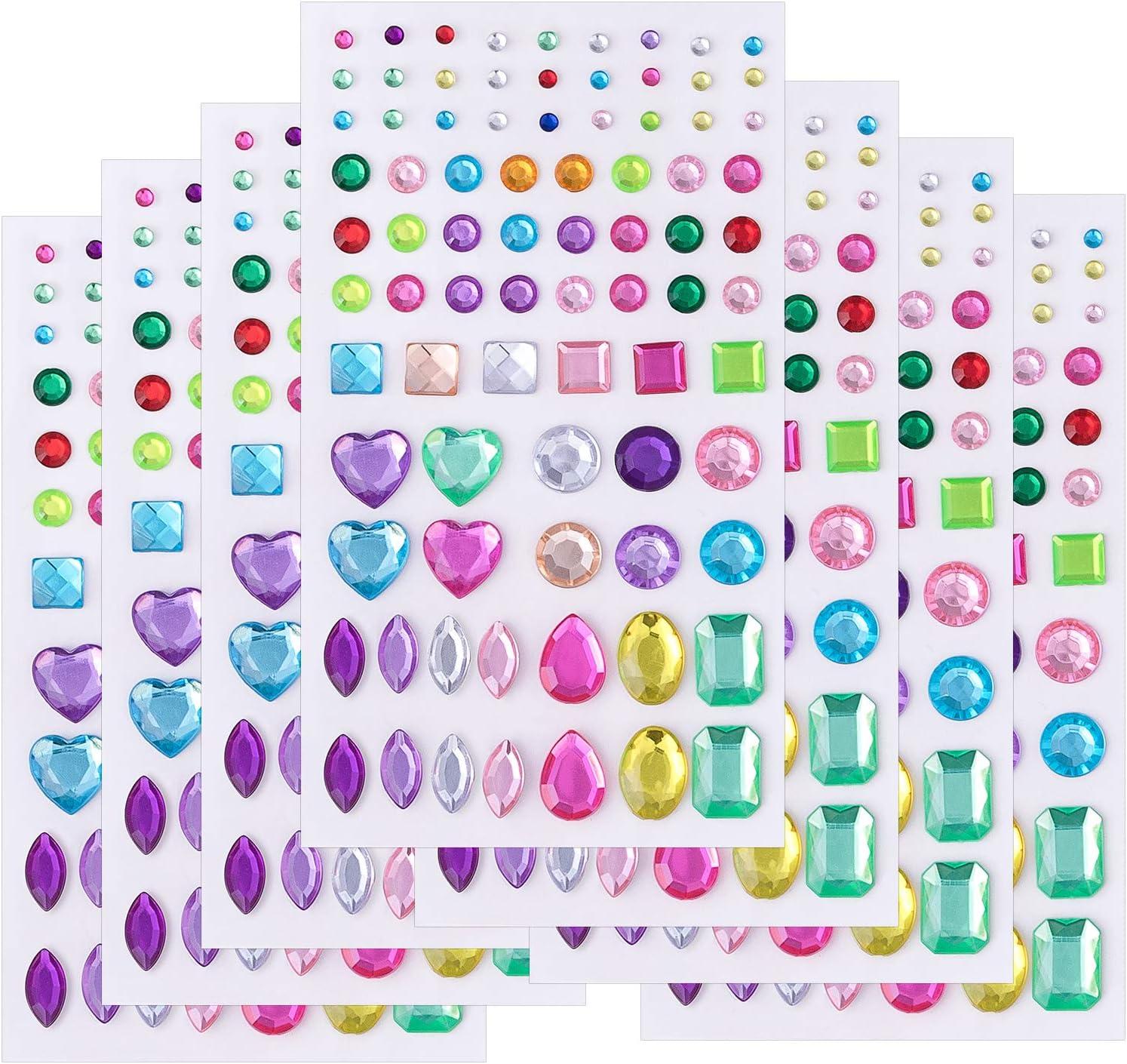 Gwolf Pegatinas diamantes imitaci/ón Pegatinas gemas cristal autoadhesivas Accesorios bricolaje 20 colores Pegatinas de diamantes de imitaci/ón acr/ílico para manualidades