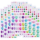 Self-Adhesive Jewels Stickers Crystal Gem Rhinestone, Assorted Size-7 Sheets (Multicolor)