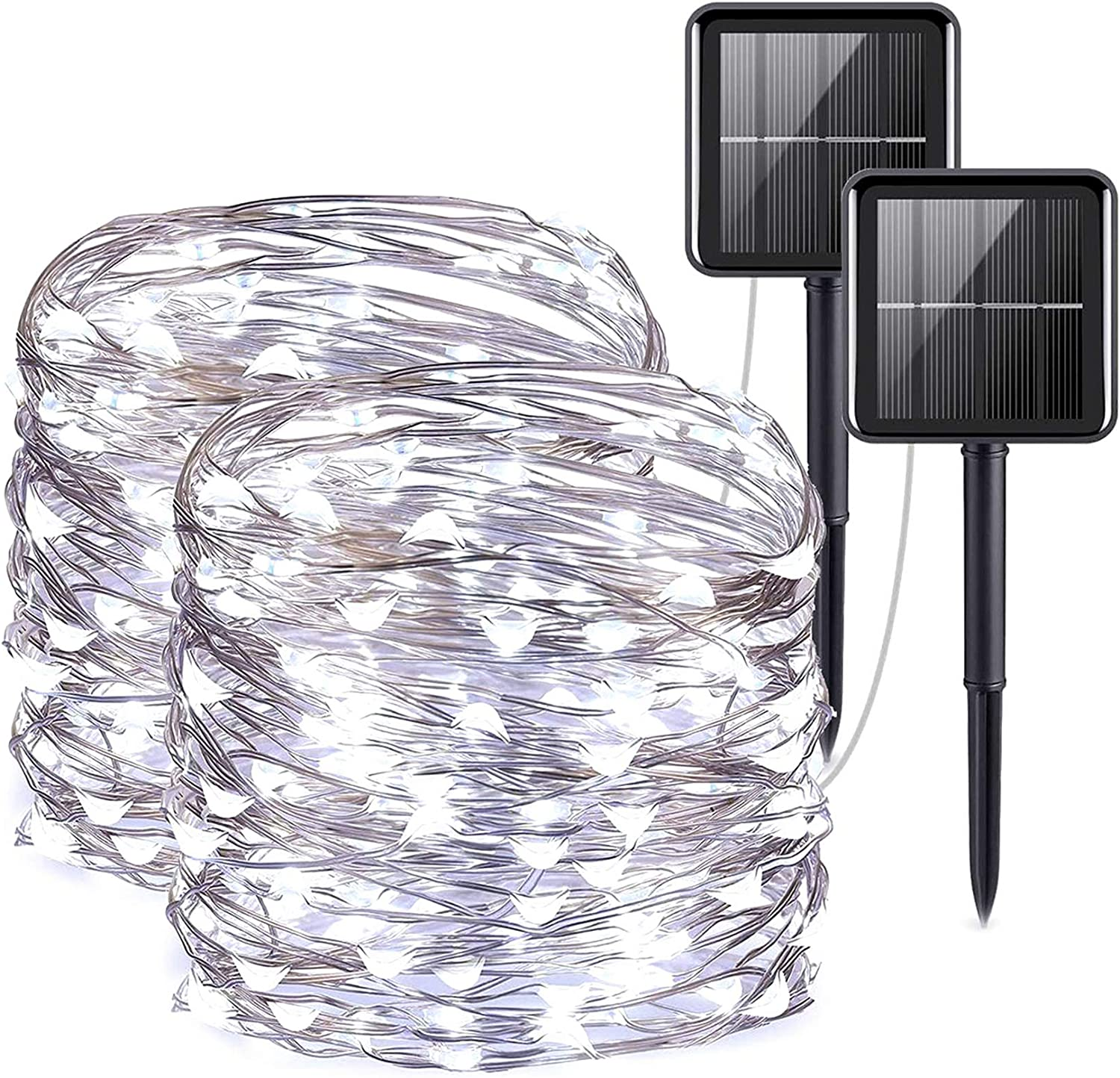 Solar String Lights Outdoor,33FT Waterproof Solar Powered String Lights,Solar Fairy Lights,Led Christmas String Lights,Solar Copper Tree Lights, 8 Modes, 2x100LED(White)