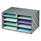 Bankers Box Decorative Eight Compartment Literature Sorter, Letter, Black/White Brocade