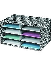 Bankers Box Decorative Eight Compartment Literature Sorter, Letter, Black/White Brocade (6170301)