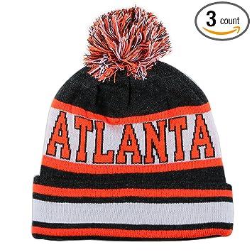 best loved e667c 7f4cb ... cuffed knit hat 8e31c d12d4  where to buy city hunter sk1130 atlanta stripes  pom pom beanie hats dark grey orange d9c70