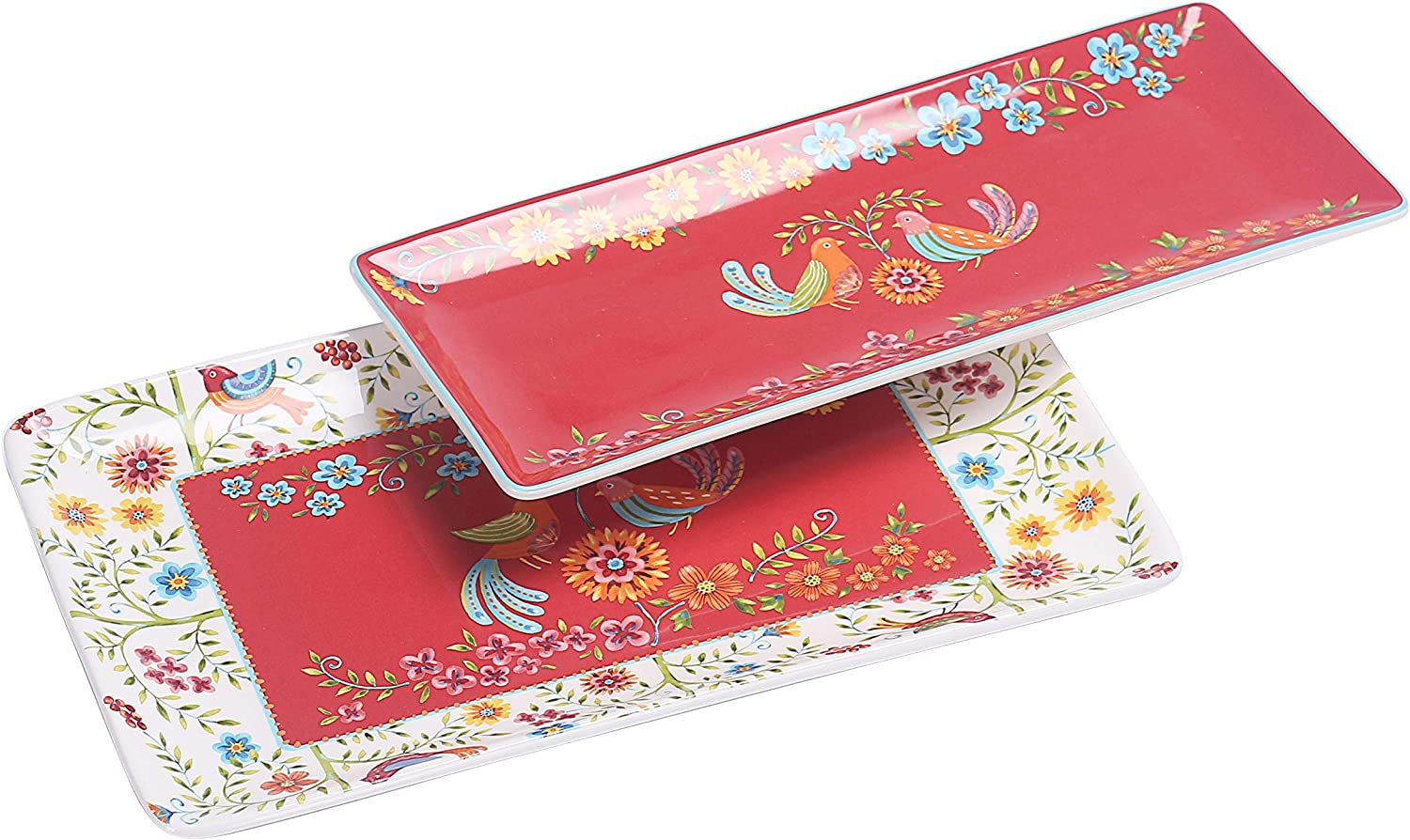 Bico Red Spring Bird Ceramic 14 inch Rectangular Serving Platter, Set of 2, for Serving Salad, Pasta, Cheese, Ham, Appetizer, Microwave & Dishwasher Safe
