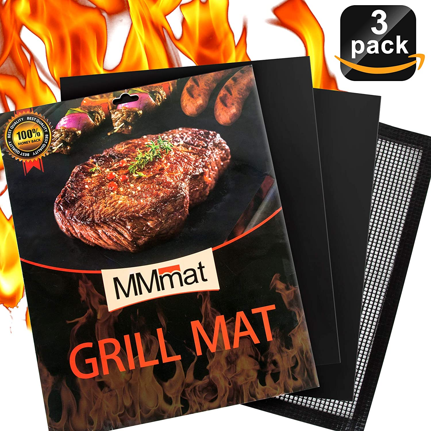 MMMAT Grill Mat - Set of 3 Heavy Duty BBQ Grill Mats - Non Stick, Reusable, Easy to Clean