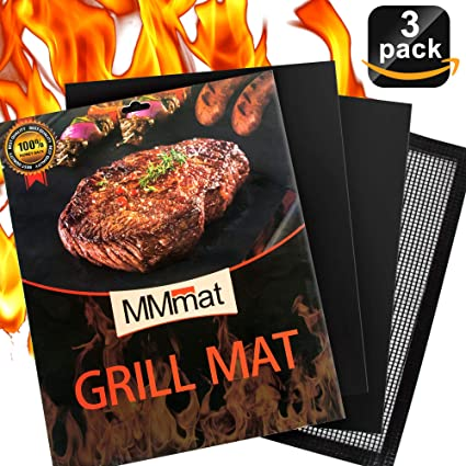 Reusable Easy to Clean Heavy Duty BBQ Grill Mat Set of 3 Non Stick NEW