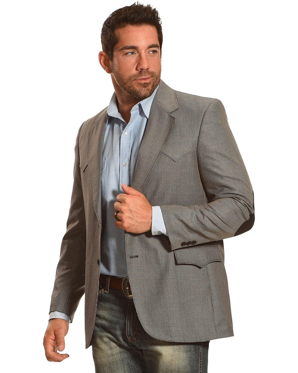 Circle S Men's Houston Elbow Patch Sport Coat Big and Tall Multi 40 LNG