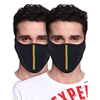 Big Tree C05A3006BK2XXCT Cotton Half Face Mask, All Pack of 2 (Black)