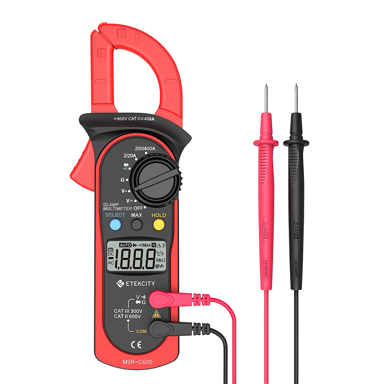 Etekcity MSR-C600 Digital Clamp Meter Multimeters , Auto-Ranging Multimeter AC/DC voltmeter with Voltage, AC Current, Amp, Volt, Ohm, Diode and Resistance Test Tester