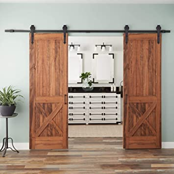 Puerta Corredera Sistema - Herraje para puerta deslizante Kit de montaje Carril de la puerta Hardware Kit para puertas correderas divisores puertas interiores y armarios de pared: Amazon.es: Bricolaje y herramientas