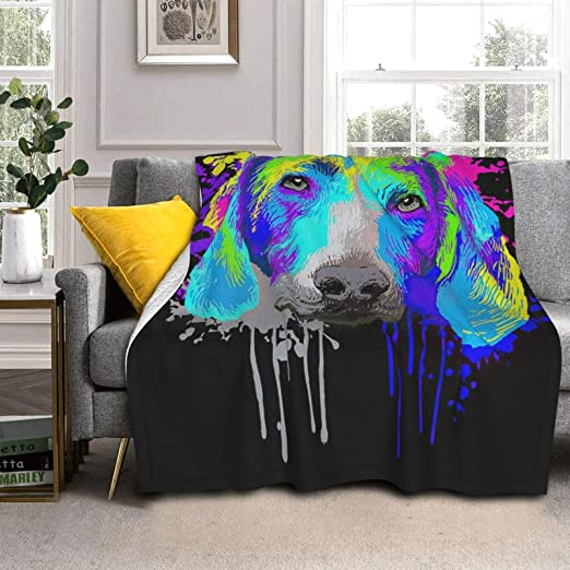 AXDF Colorful Ink Drawing Innocent Unique Puppy Super Soft Luxury Silver Fox Fleece Lambswool Reversible Blanket Warm and Light Available Home Bed Sofa Dormitory 60x50IN