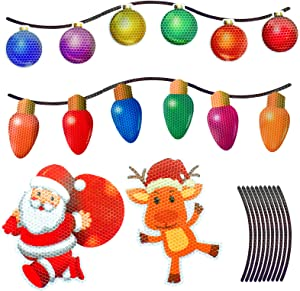 Halatool 32 Pcs Reflective Christmas Car Refrigerator Magnets Set- 12 Light Bulb Shaped Magnets + 6 Balls + 12 Magnet Wire + Santa + Elk for Xmas Holiday Party Car Garage Mailbox Refriger Decor