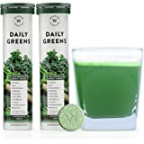 Wellbeing Nutrition Daily Greens; Whole food Multivitamin & Multi-Mineral for Immunity and detox with 39+ Organic Certified Plant Superfoods and Antioxidant Supplements (15 Effervescent Tab) (2 Pack)