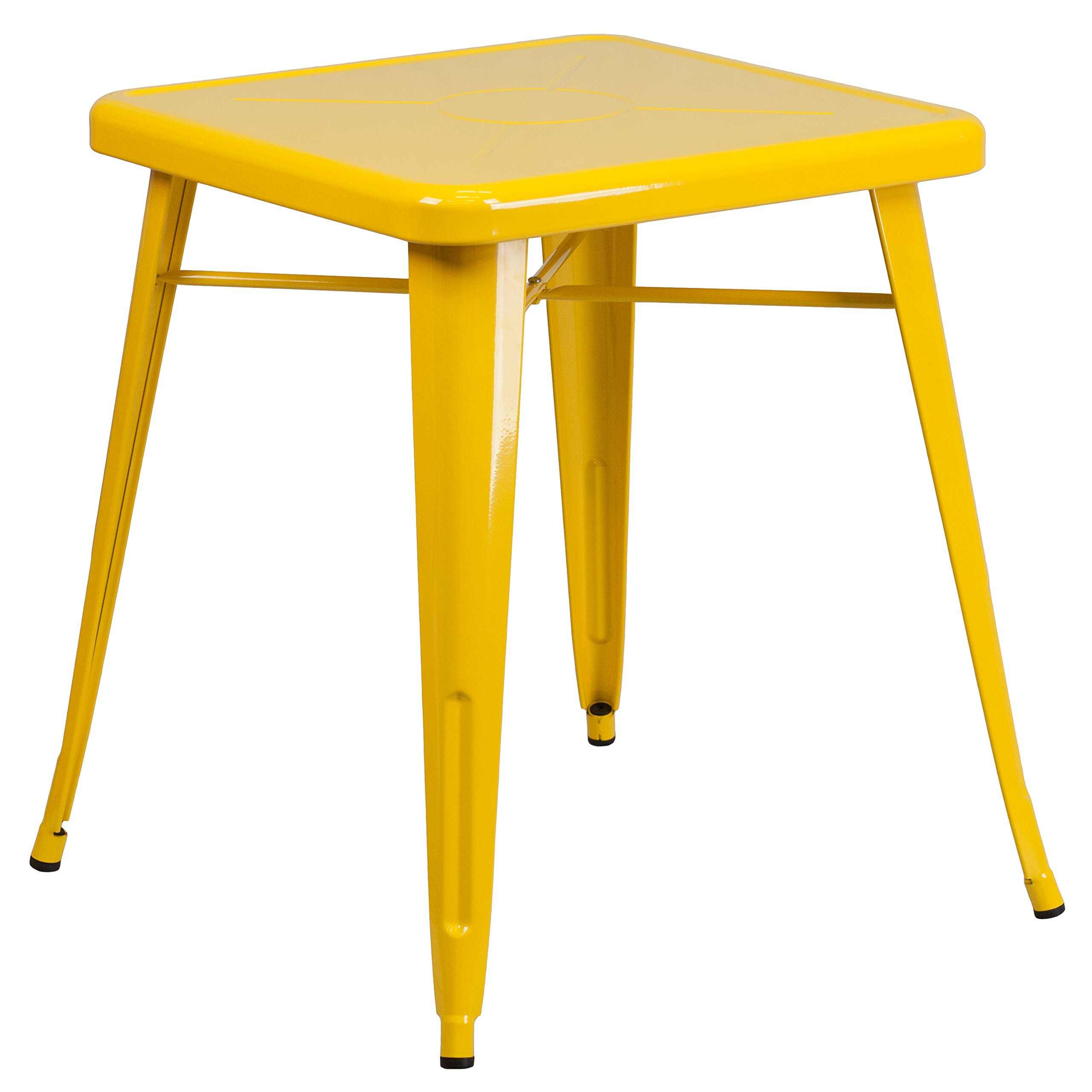 Flash Furniture 23.75'' Square Yellow Metal Indoor-Outdoor Table