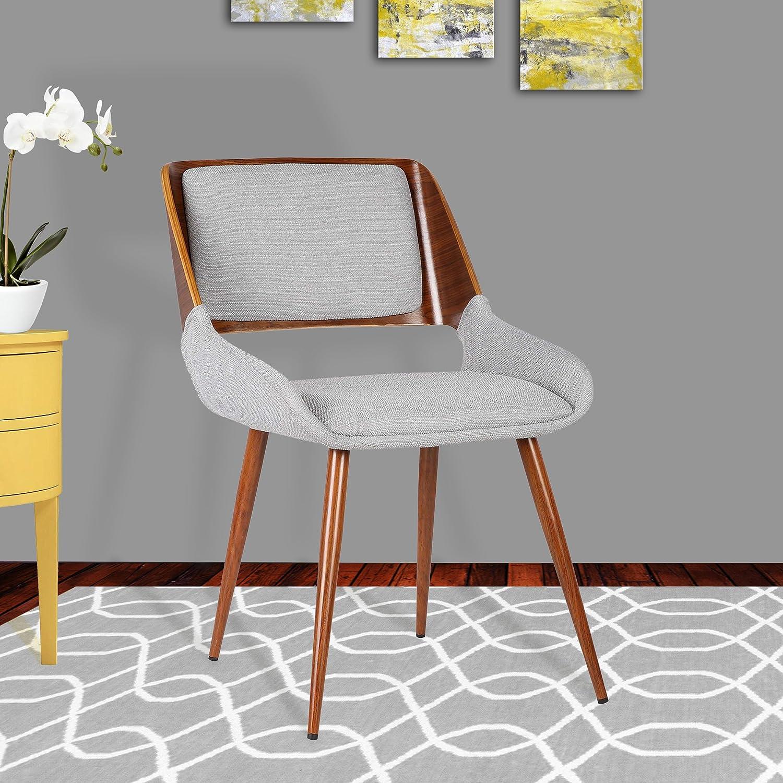 Armen Living Panda Dining Chair in Grey Fabric and Walnut Wood Finish