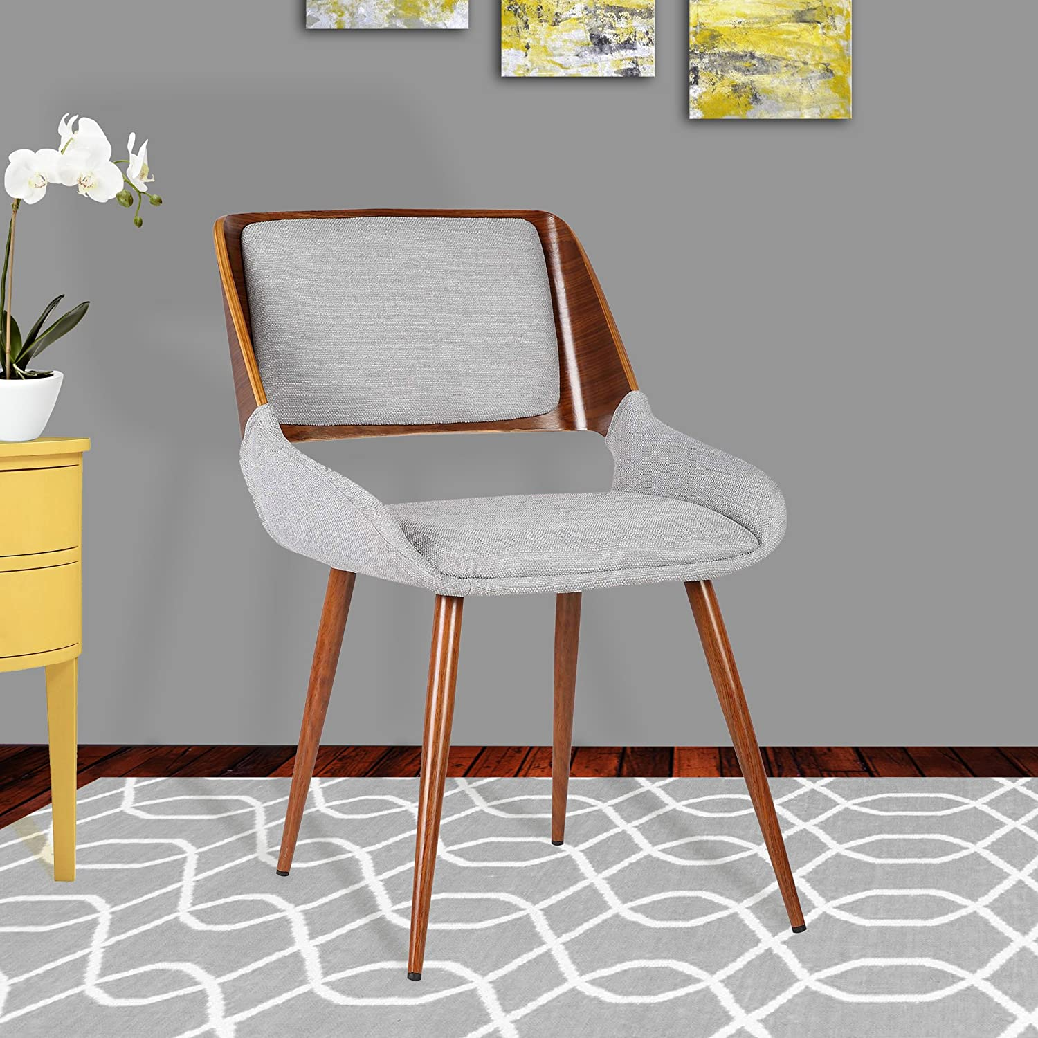 Armen Living Panda Dining Chair in Grey Fabric and Walnut Wood Finish