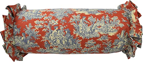 WAVERLY Sanctuary Rose Neckroll Decorative Pillow, 7 x 22 , Heritage Blue