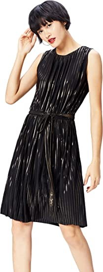 TALLA 36 (Talla del fabricante: X-Small). Marca Amazon - find. Vestido Plisado de Rayas Metalizadas para Mujer Negro (Black/Gold) 36 (Talla del fabricante: X-Small)