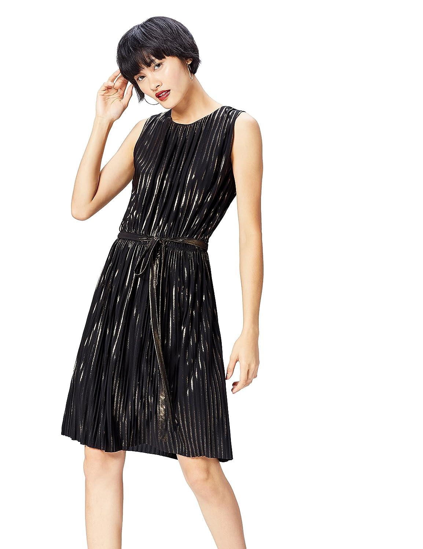 TALLA 40 (Talla del Fabricante: Medium). Marca Amazon - find. Vestido Plisado de Rayas Metalizadas para Mujer Negro (Black/Gold) 40 (Talla del fabricante: Medium)