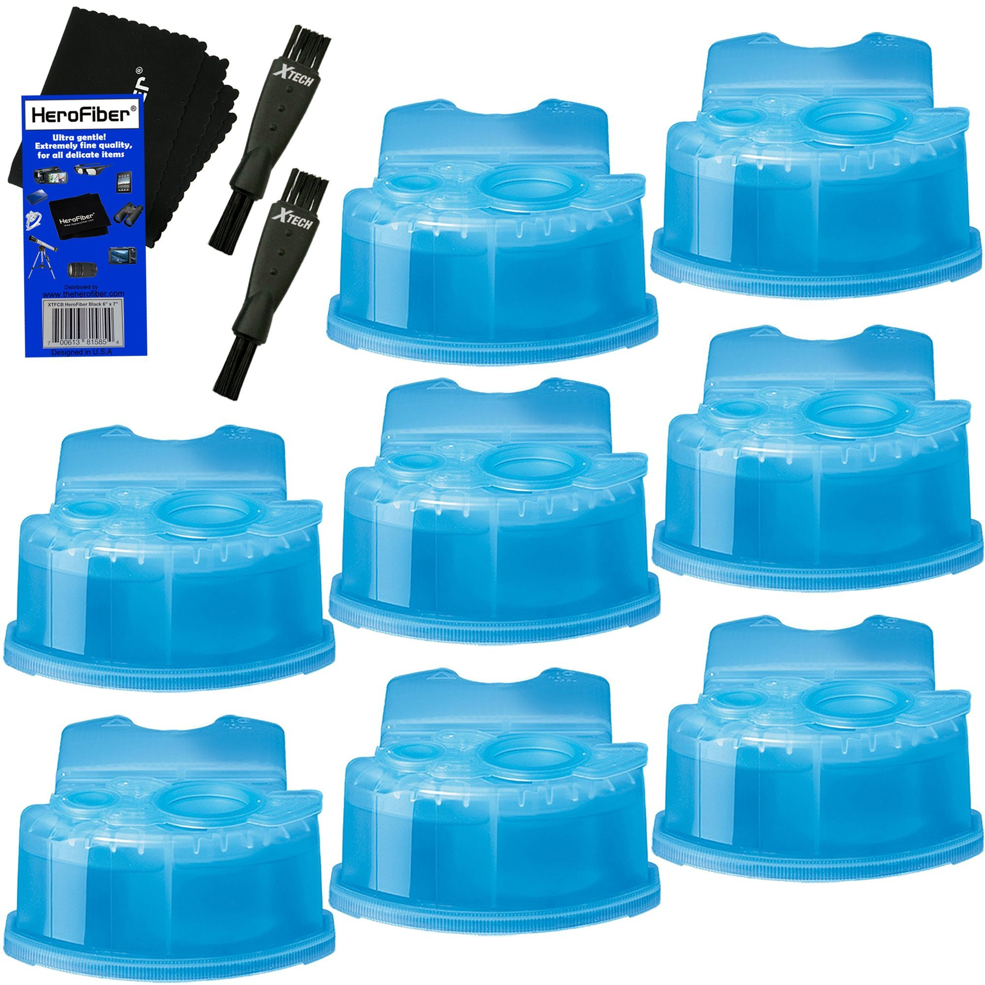 Braun Clean & Renew Refill Cartridges, Replacement Cleaner, Cleaning Solution (8 pack) for Series 3, Series 5, Series 7 & Series 9 + Double Ended Shaver Brush + HeroFiber Ultra Gentle Cleaning Cloth