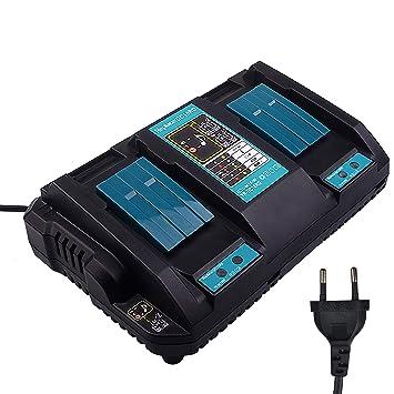 Nuevo reemplazo 2 en 1 DC18RD puerto de iones de litio de doble puerto 14.4-18V 4.0A Herramientas eléctricas Cargador de batería rápida USB para ...