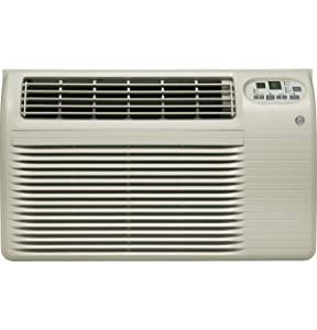 """GE AJCQ10DCG 26"""" Energy Star Built In Air Conditioner with 10300 Cooling BTU, Digital Thermostat, 24 Hour Timer and Remote Control: Soft Grey with 6-15P Plug Type"""