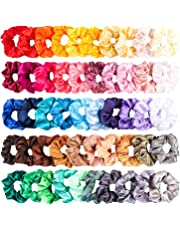 R HORSE 50 Packs Satin Hair Scrunchies Silk Satin Hair Scrunchies Elastic Hair Ties Hair Bands Ponytail Holders Solid Color Hair Bubbles Colorful Hair Accessories for Women Lady