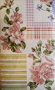 "Pink Roses and Violets Floral Patchwork Vinyl Flannel Back Tablecloth (60"" Round)"